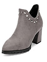 Women's Shoes  Chunky Heel Fashion Boots / Closed Toe Boots Casual Black / Gray