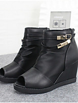 Women's Shoes Fabric Wedge Heel Peep Toe Boots Casual Black