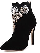 Chaussures Femme - Habillé - Noir - Talon Aiguille - Talons / Bout Pointu - Bottes - Laine synthétique