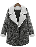 Women's Winter Stylish Solid Gray Thicken Coat , Casual / Plus Sizes Long Sleeve