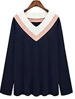Spring Casual Plus Sizes Women's V-neck Long Sleeve Shirt Tops White / Khaki / Navy Blue Pullover