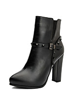 Women's Shoes Leather Chunky Heel Heels / Bootie / Pointed Toe / Closed Toe Boots Dress / Casual Black