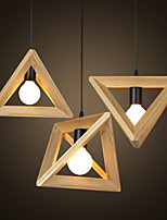 E27  Line 1M 30*30CM European-Style Creative Country Restoring Ancient Ways Triangular Wood Box Droplight  LED