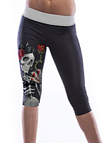 Women's Skull Girl Print Knee Length Yoga Leggings