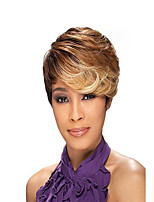 Capless High Quality Short Curly Blonde Synthetic with Side Bang