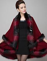 Women Europe Style Cappa Cloak Color Block Shawl & Wrap , Lined