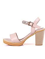 Women's Shoes Leatherette Chunky Heel Heels / Open Toe Sandals Outdoor / Office & Career / CasualBlack/ buckles sandals