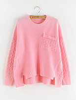 Women's Solid Pink / White / Beige Pullover , Casual Long Sleeve
