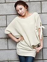 Women's Solid Beige Dress , Vintage ½ Length Sleeve