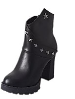 Zapatos de mujer - Tacón Robusto - Tacones / Plataforma / Botines / Punta Redonda - Tacones / Botas - Casual - Semicuero - Negro