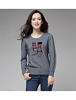Women's Character / Solid Blue / Black / Orange / Gray Pullover , Casual Long Sleeve