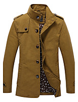 Men's Casual/Daily Vintage JacketsSolid Stand Long Sleeve Winter Blue / Black / Brown / Green Cotton Thick
