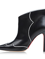 Women's Shoes Leather Stiletto Heel Fashion Boots / Bootie Boots Wedding / Party & Evening / Dress Black