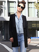 Women's  Sell Well One Button Solid Blue / Black / Yellow / Gray Coat , Casual / Work Long Sleeve Tweed