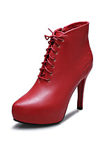 Women's Shoes Leather Stiletto Heel Fashion Boots / Bootie / Pointed Toe Boots  Black / Red