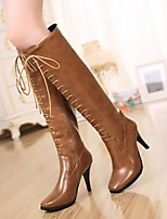 Women's Shoes Leatherette Stiletto Heel Heels / Round Toe Boots/ Office & Career / Casual Black / Brown / Burgundy