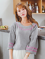 Women's Sweet Embroidery Round Loose Pullover , Casual / Cute Lantern ¾ Sleeve
