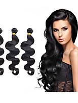 tre fasci 6a vendita caldo trama dei capelli umani di seta all'ingrosso colore naturale diritto 100% virgin remy briazilian