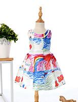 Girl's Fashion Simplicity  Cotton Blend Fall Tong Qu Graffiti Sicily House Printing Jumper Skirt Princess Dress