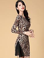 Latin Dance Dresses Women's Performance Spandex / Polyester / Silk Leopard 1 Piece Black / Leopard Print