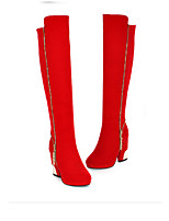 Women's Shoes Polyester Chunky Heel Pointed Toe Boots Casual Black / Red