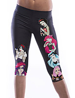 Women's Cartoon Princess Print Knee Length Yoga Pants