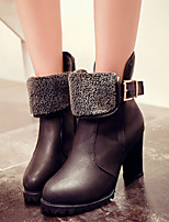 Women's Shoes Chunky Heel Fashion Boots / Round Toe Boots Casual Black / Brown
