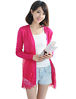Women's Solid Blue / Pink / Red / White / Black / Green / Orange / Yellow Cardigan , Sexy / Casual Long Sleeve