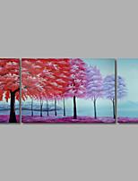 pintura a óleo pintados à mão na parede de lona árvores arte abstrata da floresta montanhas três painel pronto para pendurar