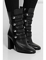 Women's Shoes Leather Chunky Heel Fashion Boots Boots Office & Career / Party & Evening / Dress Black