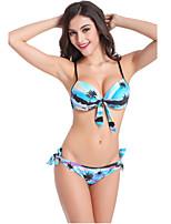 De las mujeres Bikini - Floral Sujetador Acolchado / Sujetador con Soporte - Halter - Nailon / Espándex