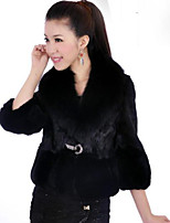Women's Solid Color Pink / White / Black Coats & Jackets , Casual / Party V-Neck Long Sleeve Imitation rabbit hair short