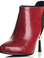 Damenschuhe - Stiefel - Büro / Kleid / Lässig - Kunstleder - Stöckelabsatz - Modische Stiefel - Schwarz / Rot
