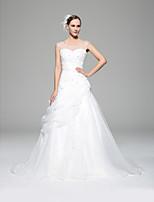A-line Wedding Dress - White Chapel Train Scoop Organza