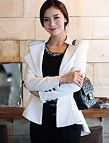 Women's Solid White / Black Blazer , Casual Asymmetrical Long Sleeve