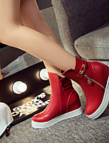 Women's Shoes Flat Heel Fashion Dunk High Leisure Comfort / Closed Toe Boots Dress / Casual Black / Red / White