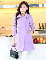 Women's Solid Blue / Pink / Yellow / Purple Coat , Casual Long Sleeve Cotton