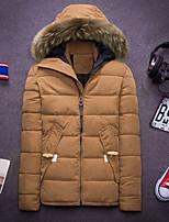 Men's Long Parka Coat , Cotton / Spandex Pure Long Sleeve