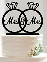 Acrylic Mr & Mrs Dimond Ring Cake Topper Non-personalized Acrylic Wedding / Anniversary / Bridal Shower  15*10.6*0.25