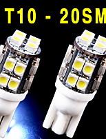 2 PCS NEW 6000K White Wedge T10 20-SMD LED Light bulbs W5W 2825 158 192 168 194