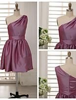 Brautjungfernkleid - Traube Taft - A-Linie - knielang - 1-Schulter