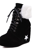 Women's Shoes Suede Chunky Heel Wedges / Pointed Toe Boots Casual Black / Red