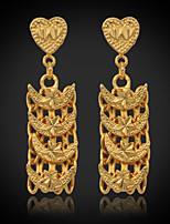 InStyle 18K Chunky Gold Plated Dangle Drop Rhinestone Earrings High Quality