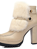 Women's Shoes Synthetic Chunky Heel Fashion Boots / Motorcycle Boots Boots Party & Evening / Casual Black / White