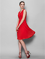 Knee-length Chiffon Bridesmaid Dress - Ruby A-line V-neck