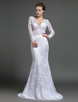 Formal Evening Dress - Ivory Sheath/Column V-neck Sweep/Brush Train Lace