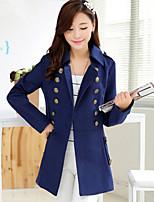 Women's Solid Blue Coat , Casual Long Sleeve Tweed