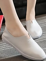 Women's Shoes Leather Flat Heel Mary Jane Loafers Outdoor / Athletic / Casual Black / Red / White / Silver / Gray