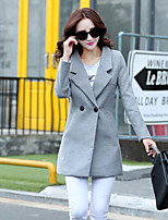 Women's Solid Blue / Pink / Gray Coat , Casual / Plus Sizes Long Sleeve Tweed