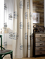 Room Darkening Linen Embroidered Two Color Curtain (Two Panel)